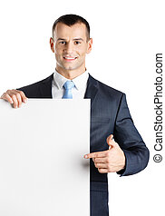 Manager points at paper copyspace