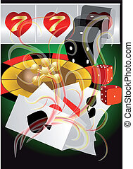 abstract casino abstract background with roulette; card and...