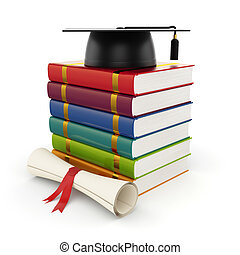 Books with graduation cap - 3d illustration of books with...