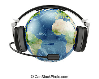 Earth planet with earphones and microphone - 3d illustration...