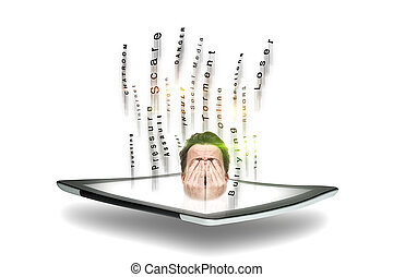 Man subject to cyber bullying - Conceptual image of a man...