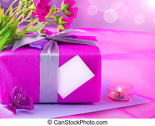 Pink giftbox for mother - Photo of beautiful romantic still...