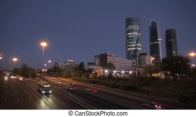 night at Madrid city highway 30 - time-lapse at highway next...