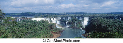 Iguasu falls - Panoramic view on famose Igusu waterfall on...