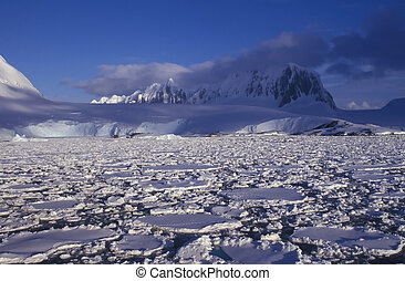 Antarctica - Panoramic view on antarctic snow mountains