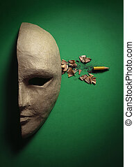 Mask - paper face mask with a shot in the head, the bullet...