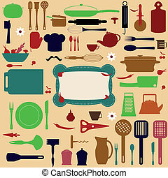kitchen tools - Vector seamless pattern of kitchen tools