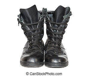 Black leather army boots isolated on white background
