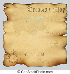 Old treasure map with wind rose compass. Highly detailed...