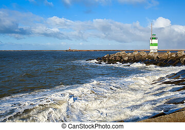 lighthouse on North sea - Dutch lighthouse on coast of north...