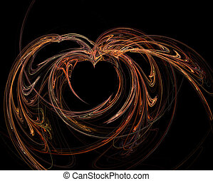 Fractal - Abstract designed dark heart with colorful flames...