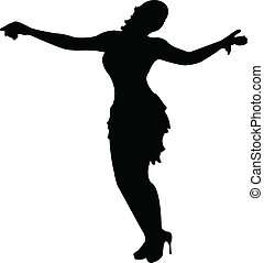 dancing girls silhouette, vector