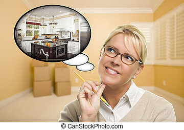 Woman in Empty Room with Thought Bubble of a New Kitchen...