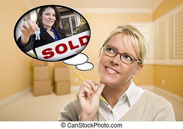 Attractive Woman In Empty Room with Thought Bubble of Agent and Sold Sign Handing Over New Keys.