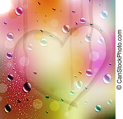 vector festive background with the drawn heart on color...