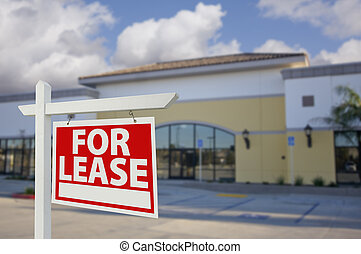 Vacant Retail Building with For Lease Real Estate Sign in...