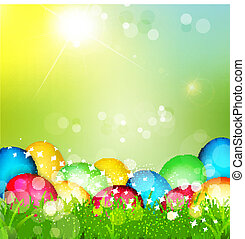painted Easter eggs lying in the grass - Vector painted...