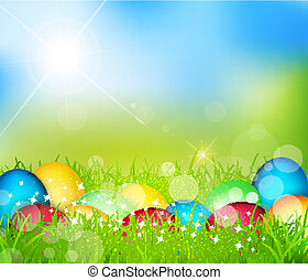 Easter eggs lying in the grass