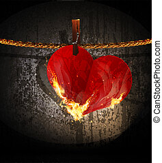 Vector burning heart hanging on a rope