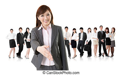 business handshake - Smiling business executive woman of...