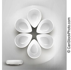 vector background with white plates on the table, arranged...