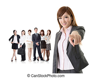 We want you, Asian business woman point at you in front of...