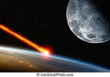 Asteriod impact - Abstract scientific background - asteroid...