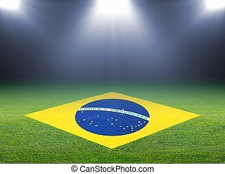 Green soccer field, brazil flag, bright spotlights,...