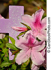 Lavendar lily and cross - Light purple and pink lilies...