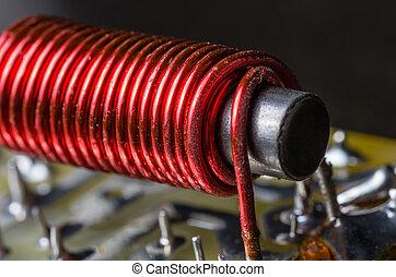 envolver, núcleo, alambre, eléctrico, hierro
