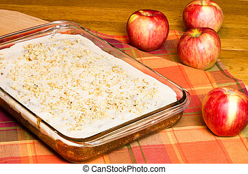Apple sheet cake with red apples