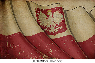 Polish State Flag Old Paper - Illustration of a rusty Polish...
