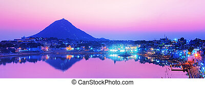 Pushkar lake at night - Pushkar lake at night. Pushkar,...