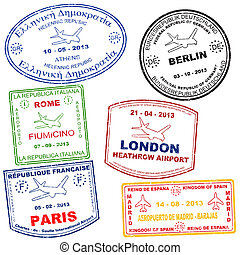 Set of passport stamps - Passport grunge stamps from Athens,...
