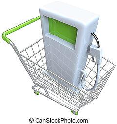 Gas Pump in Shopping Cart - A gas pump in a metal shopping...