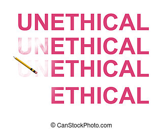 Ethical - From unethical to ethical abstract in white...