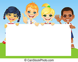 Vector happy smile kids and banner - Smiling happy smile...