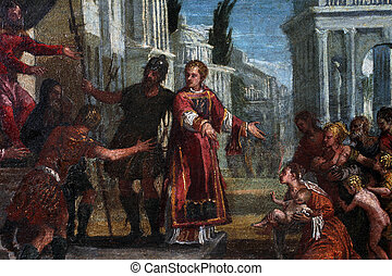 St Lawrence leads the poor prefect of Valerian