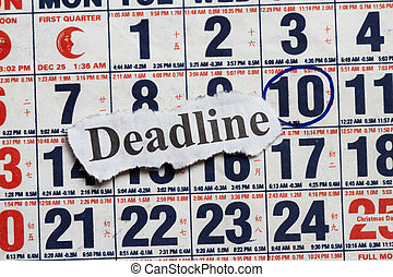 Deadline cutout in a calendar with date encircle.