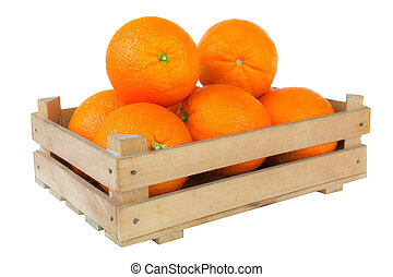 Fresh and ripe orange fruits in a wooden crate isolated on...