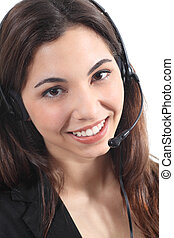 Beautiful and happy telephonist woman in a white isolated...