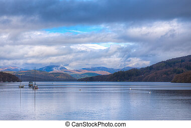 Lake windermere with scenic background