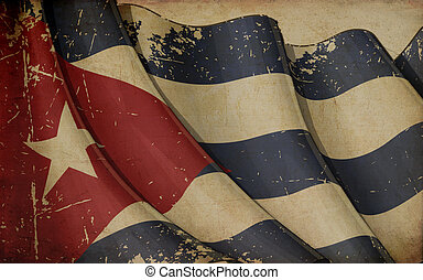 Cuban Flag Old Paper