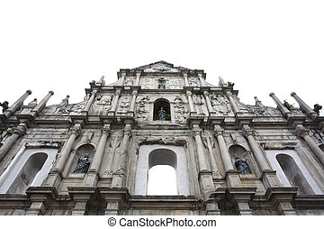 Facade of ruined church of St Paul. Macau. China isolated on...