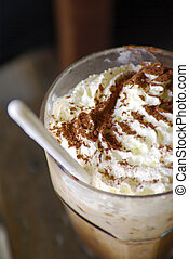 closeup of an inviting chocolate drink or dessert