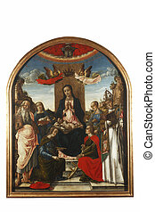 Madonna and Child on the throne crowned by two angels, with...