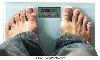 Lose Weight - Man Standing on Digital Scale or Weighing...