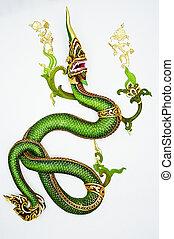 mód, fal, sárkány, zöld, fehér, thai ember
