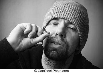 stoned man - special black and white photo f/x, focus point...