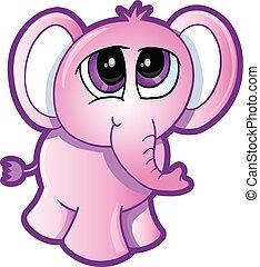 Shy Elephant Vector